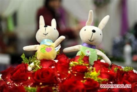 china doll valentines day rabbit dolls decorate s day in china s qingdao
