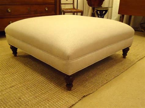 large upholstered ottoman large english upholstered herringbone ottoman at 1stdibs