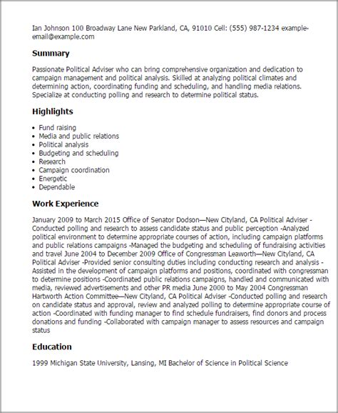 Political Adviser Cover Letter by Professional Political Adviser Templates To Showcase Your Talent Myperfectresume