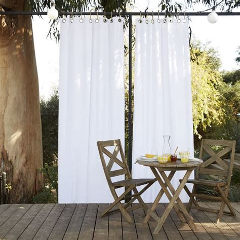 outdoor drape solid outdoor curtain white west elm