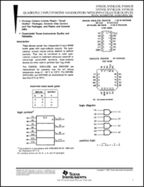 74 Ls 38 7438 74ls38 2 Input Nand Buffer instruments 74ls38 series datasheets sn54s38fk