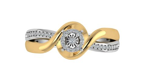 gold silver 0 10cttw twisted shank halo promise ring