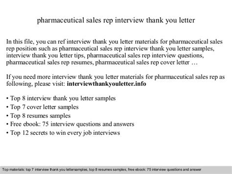 Thank You Letter After Phone Sales Pharmaceutical Sales Rep