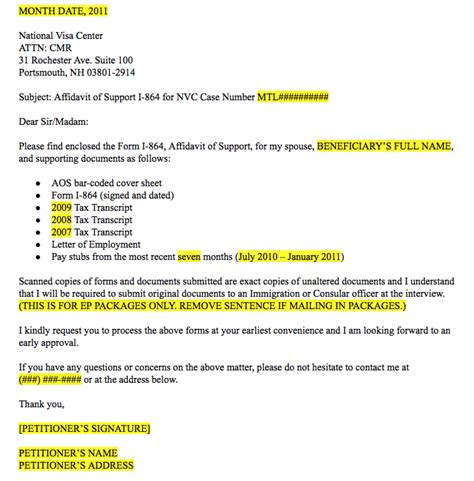 cover letter for affidavit of support cover letter for affidavit of support printable affidavit