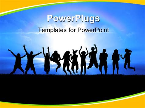 template powerpoint youth powerpoint template silhouettes of a youth group jump in