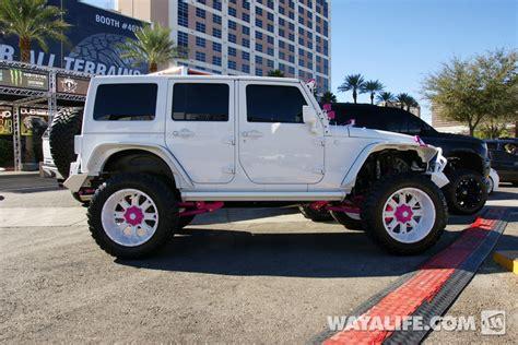 2014 Sema White Pink Dub Jeep Jk Wrangler Unlimited