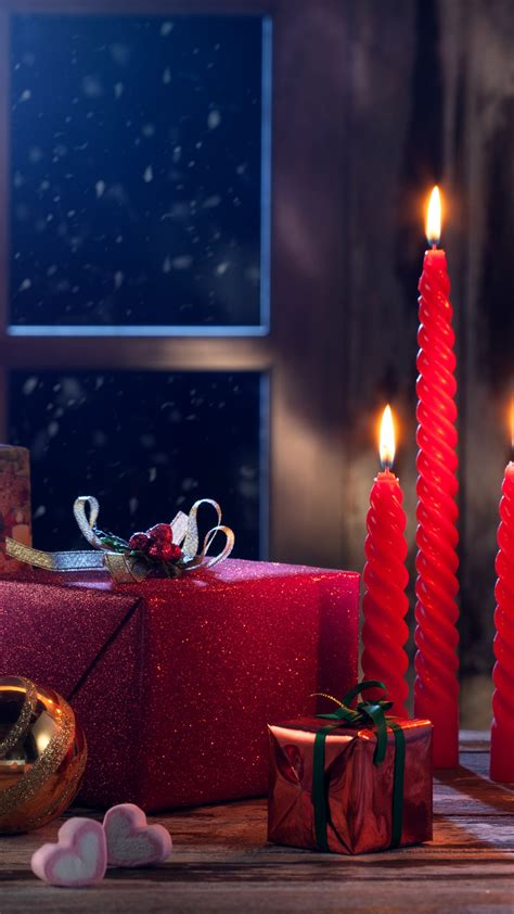 wallpaper christmas eve presents gifts candles
