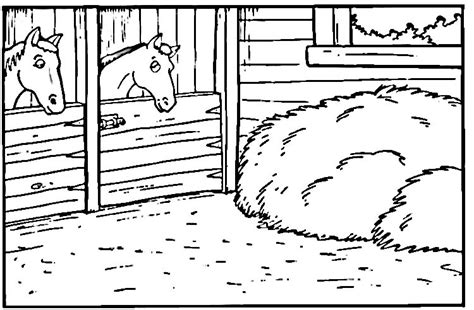 horse in a stable coloring pages