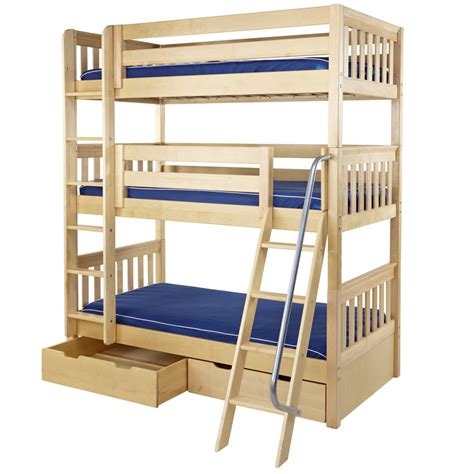 bunk beds pictures maxtrix moly triple bunk bed in natural slat bed ends 850