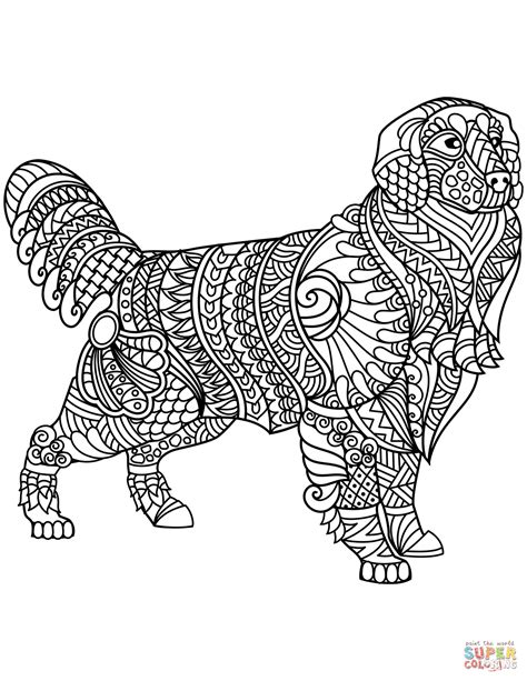 Golden Retriever Coloring Pages by Golden Retriever Zentangle Coloring Page Free Printable