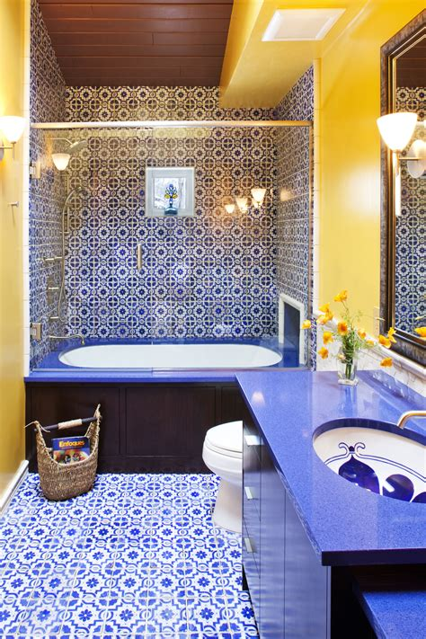 blue  yellow moroccan inspired guest bathroom yellow