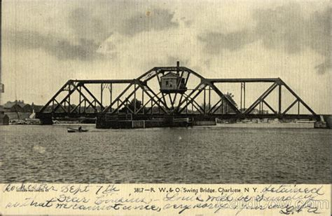 swinging bridge ny r w o swing bridge charlotte ny postcard