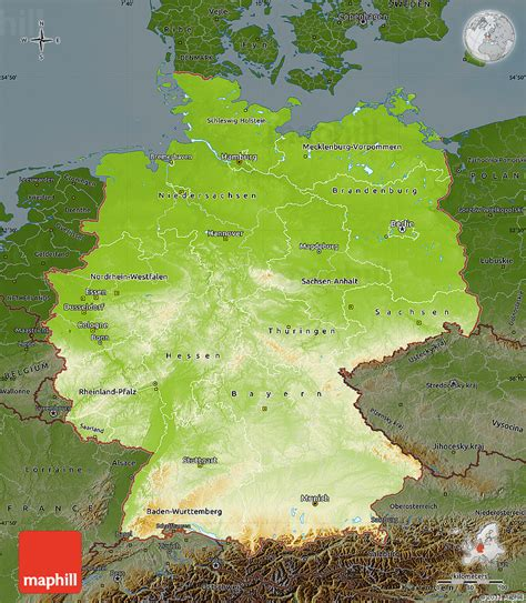 germany physical map physical map of germany darken