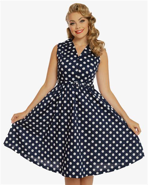 Navy Polka Dress matilda navy polka dot shirt dress vintage inspired