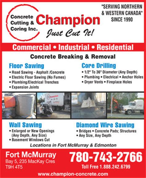 Plumbing Companies In Fort Mcmurray by Chion Concrete Cutting Coring Inc 5 235 Mackay Cres