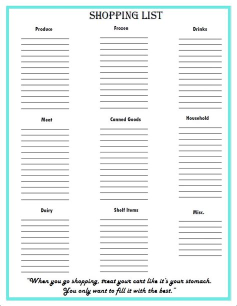printable meal planner shopping list best 25 grocery list printable ideas on pinterest
