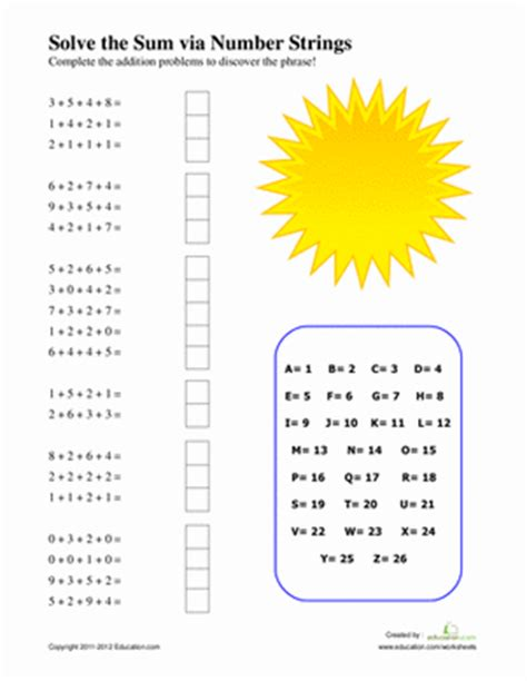 String Math - number strings worksheet education
