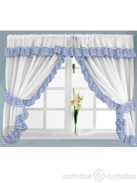 gingham check blue white kitchen curtain curtains uk