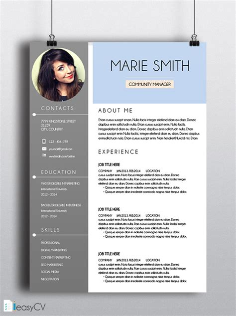 Job Resume For Customer Service by Cv Resume Template Marie Easycv Modern Resume Word