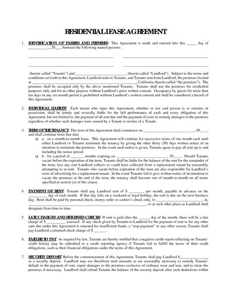 residential tenancy agreement template free printable residential free house lease agreement