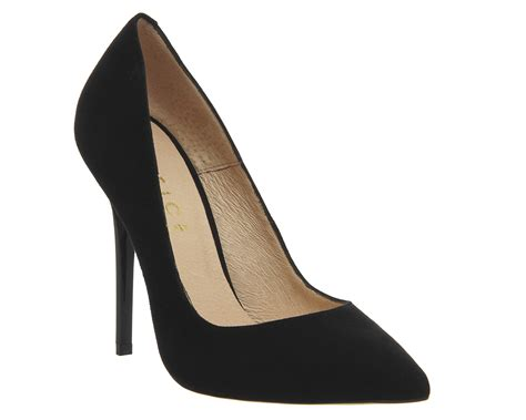 office on to point court heels black suede high heels