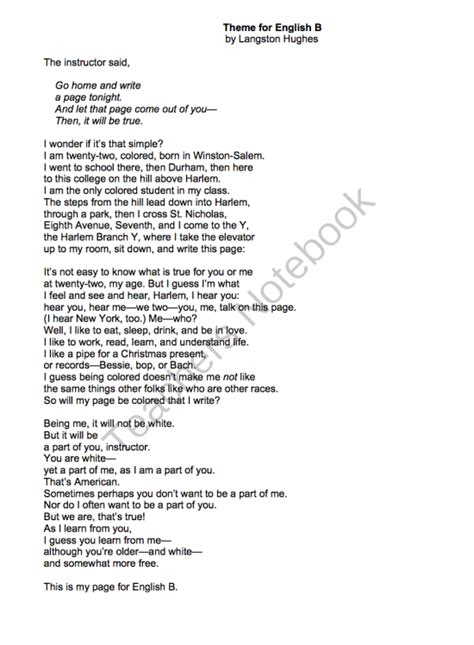 themes of english poetry theme for english b by langston hughes lessons analysis