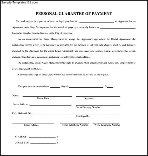 Personal Credit Guarantee Form Personal Loan Template 400 Loans Next Day