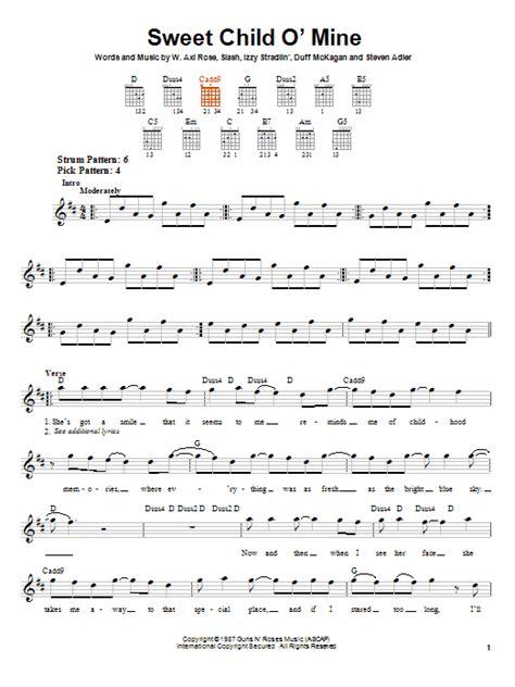 tutorial guitar sweet child o mine sweet child o mine sheet music by guns n roses easy