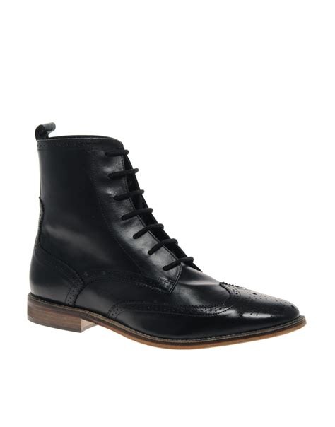 black brogue boots asos asos brogue boots in black for lyst