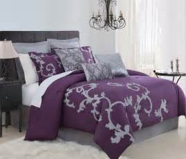 Details about 9 piece queen duchess plum and gray comforter set