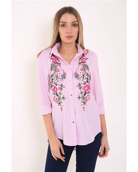 Striped Embroidered Shirt imogen striped floral embroidered shirt in pink vivichi