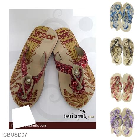 Sandal Jepit Wanita Motif Batik Biru Sendal Kaki Unik Special Edition sandal batik jogja jepit sendok tali anak sandal etnik