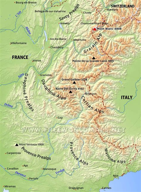french alps map world map 07