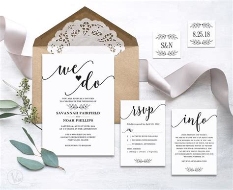 modern calligraphy wedding invitation printable by vinewedding