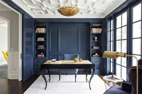 wall paint hale navy benjamin transitional home office by city homes design and build