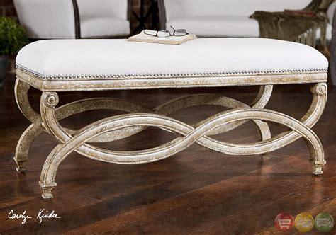 natural bench karline hand carved wood frame natural linen bench 23075