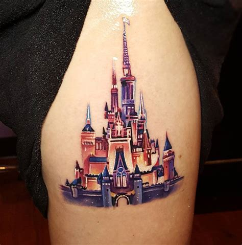disney castle tattoos designs realistic cinderella castle best ideas designs