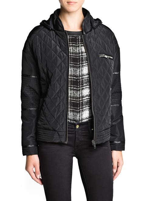 Quilted Hooded Jacket by Mango Hooded Quilted Jacket In Black Lyst