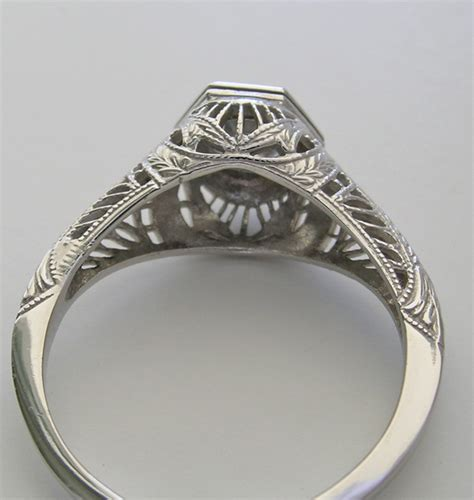 charming antique deco style filigree engagement ring