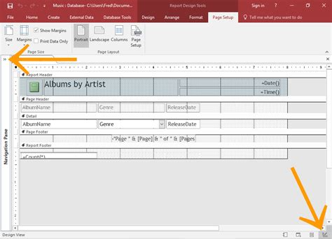 how to switch to layout view in access access 2016 create a report