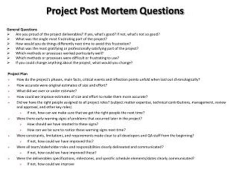 project post mortem report sle ppt project post mortem questions powerpoint