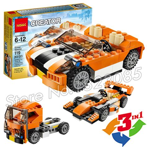Bricks Lego Racing 2 In 1 119pcs 3in1 creator sunset speeder truck cab racing car diy 3d model building blocks bricks