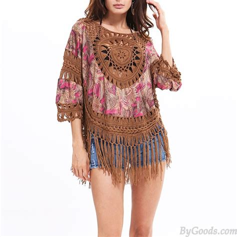 Buteeq Tassel Outer 4 s indian style outer blouse tassel knitting large size tops s tops clothing