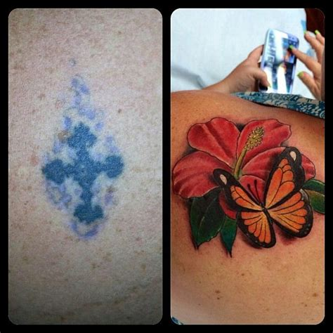 rogue tattoo cover up left side is the original and the right