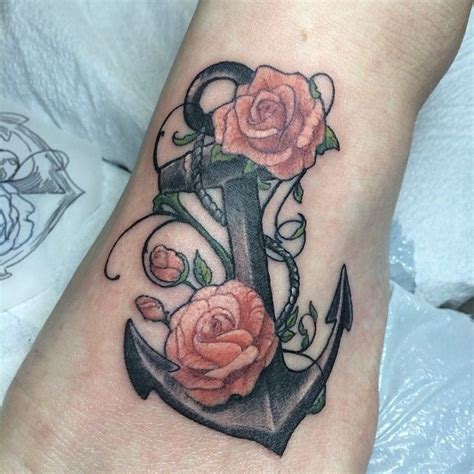anchor and rose tattoo anchor and roses via nautical