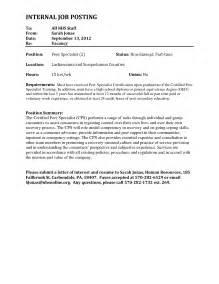 free sample cover letter for internal job posting