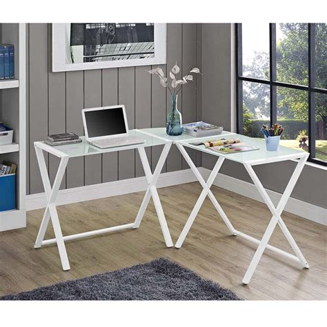 Metal Corner Computer Desk Walker Edison X Frame White Glass And Steel Corner Computer Desk White D51x29wh