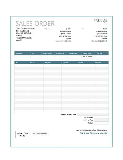 sales order form sales order with blue gradient design excel