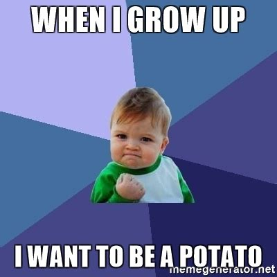 When I Grow Up Meme - when i grow up i want to be a potato success kid meme