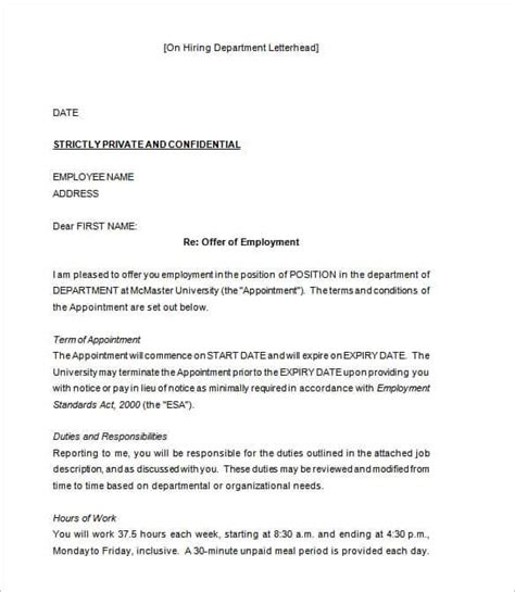 appointment letter employment 28 offer letter format templates free word pdf sle